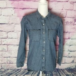MADEWELL DENIM BUTTON DOWN HI LOW DISTRESSED SHIRT